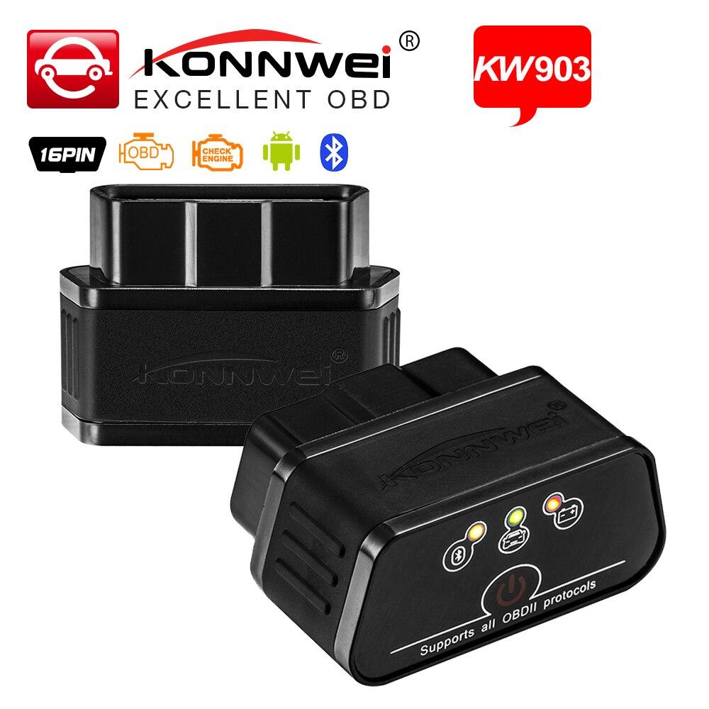 Автомобильный диагностический сканер Konnwei KW903, Bluetooth 3,0 для Android, OBD2, ELM327