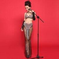 Nuova Moda Multicolore Leopardo Stampa Donne Sexy Ds Dance Night Dj Costume Femminile Cantante Bar Stage Show Usura Vestiti di Jazz Set