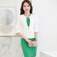 Fashion Women Professional Lady Dress Suit For Office Business Work Uniform Ladies Summer Blazer With Dress