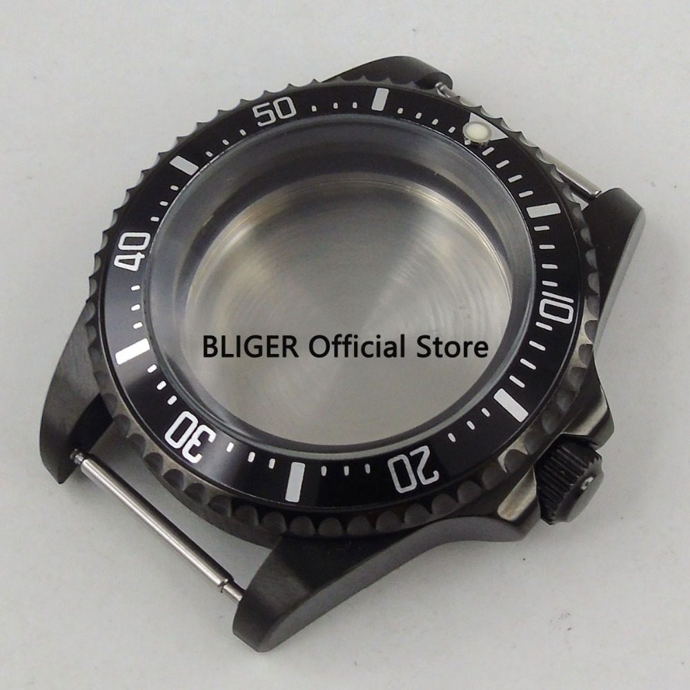 Classic 42mm Black PVD coated case black aluminum alloy bezel Watch Case Fit For ETA 2824 2836 Miyota 8215 8205 Movement C18 цена