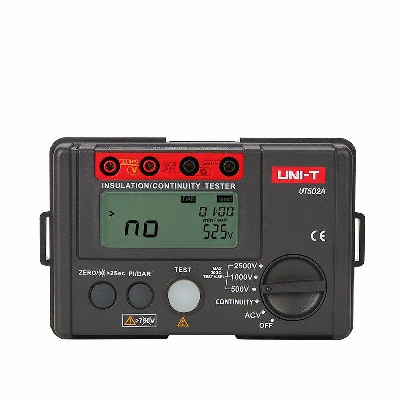 UNI T UT502A 2500V Insulation Resistance Testers Megohmmeter Voltmeter Continuity Tester megger w LCD Backlight Diagnostic