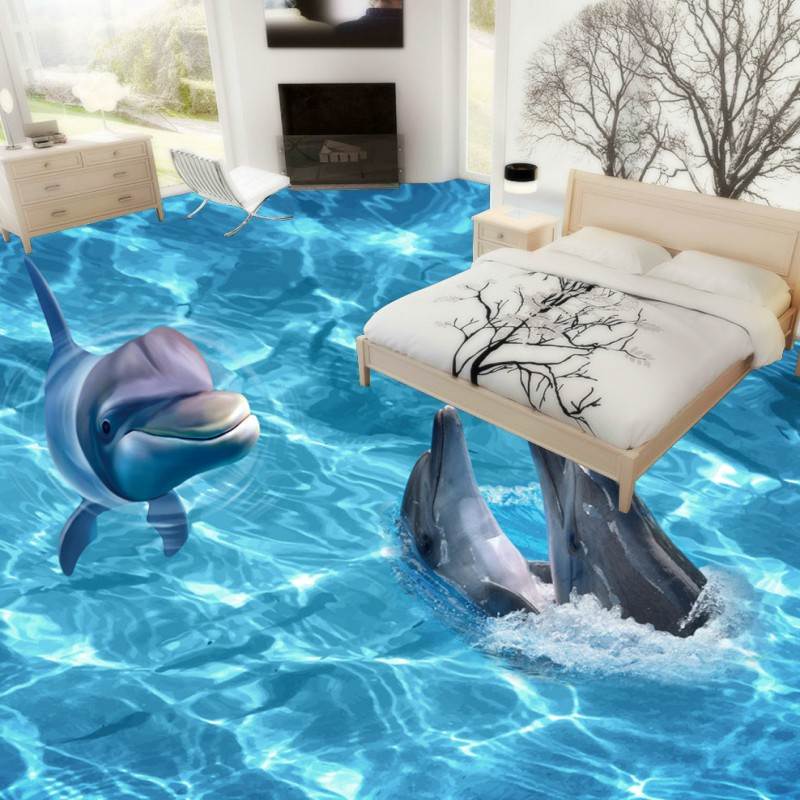 Free shipping 3d stereo seaworld dolphin ripple bathroom for 3d aquarium wallpaper for bedroom