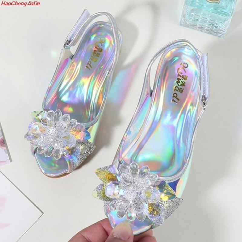 Fashion Snow Queen Crystal Bright Diamond Sandals Girl Princess Elsa Single Shoes Girl Performance High Heels Sandals
