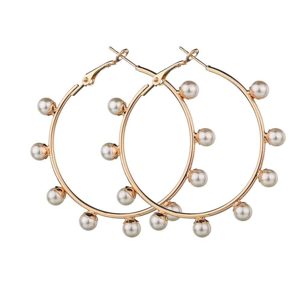 Misscycy Hoop-Earrings Jewelry Circle Gold-Color Fashion Pearl Women Trendy for Gift
