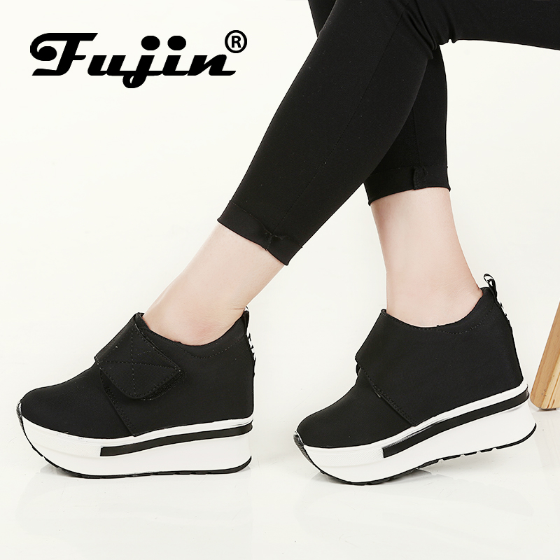Fujin Brand Women Wedge casual shoes Platform Lace Up High heel Shoes Spring Autumn Hidden Heel Lady Sneakers Slip On Pumps woman fashion hidden wedge heel lace up casual shoes spring autumn women s ultra high heels shoes women singles