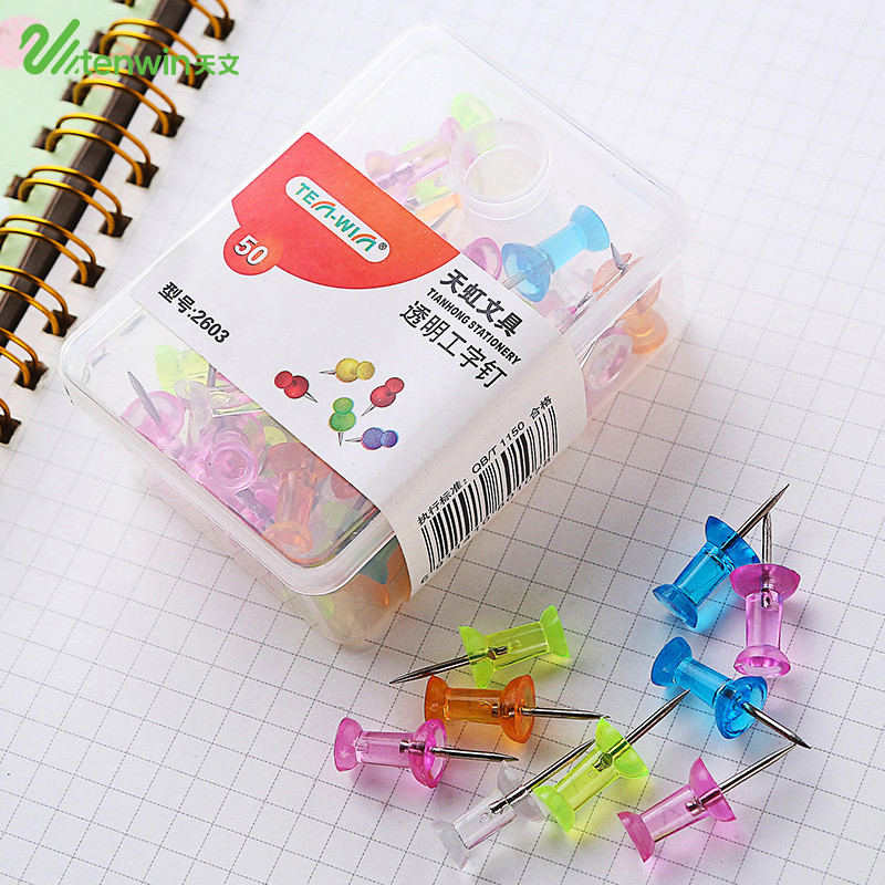 50 Pcs/lot DIY Transparent Color Thumb Tacks Push Pins Stationery Buttons Kawaii Cork Board Pins Map Pin Office Binding Supplies