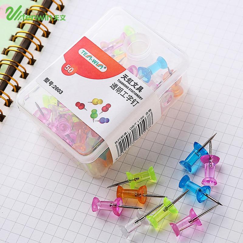 50 Pcs/lot DIY Transparent Color Thumb Tacks Push Pins Stationery Buttons Kawaii Cork Board Pins Map Pin Office Binding Supplies