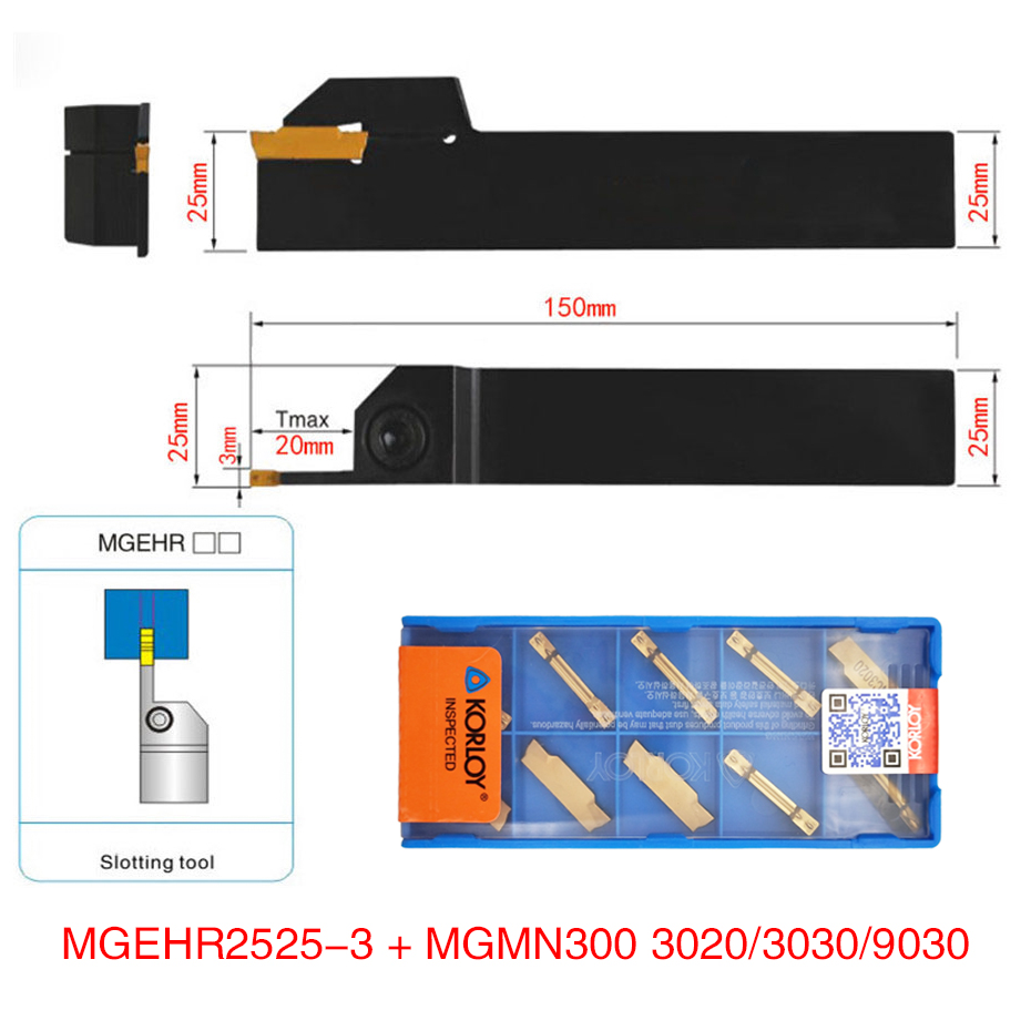 1pc MGEHR2525-3 MGEHL2525-3 tool holder + 10pcs MGMN300 M NC3020/NC3030/PC9030 inserts grooving turning tool holder set1pc MGEHR2525-3 MGEHL2525-3 tool holder + 10pcs MGMN300 M NC3020/NC3030/PC9030 inserts grooving turning tool holder set