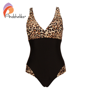 Image 3 - Andzhelika 2019 New Women One Pieces Swimsuits Sexy Leopard Patchwork Solid High Waist Bathing Suits Summer Plus Size Swimwear