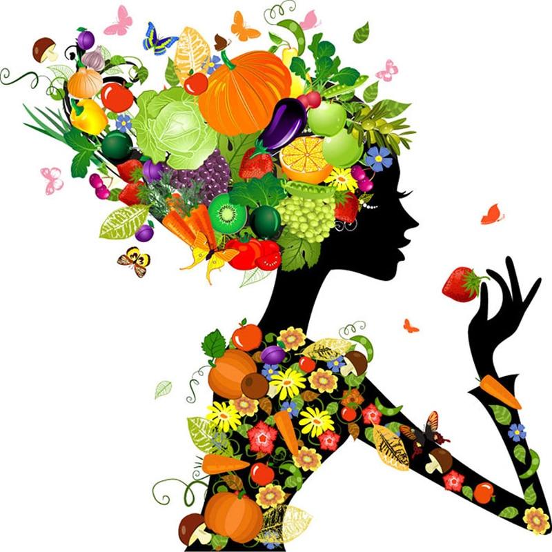 Diamond Mosaic fairy fruit girl Diamond bordado patrones 3d - Artes, artesanía y costura