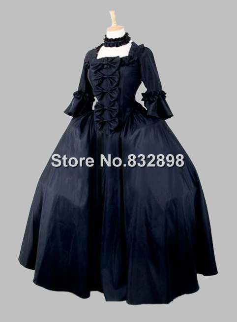 19th Century Gothic Black Victorian Era Big Ball Gown Stage Costume Party Dress