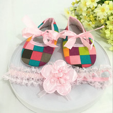 Kids flowers Shoes  Girl Princess Lace Headband Cute Infant Girl Toddler Shoes Set Newborn Photography Props   5TX29