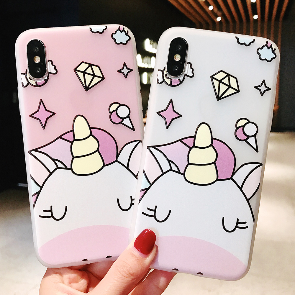 KIPX1104_4_JONSNOW Phone Case For iPhone XS Max XR XS 6 6S 7 8 Plus Funny Cute Emboss Unicorn Pattern Soft Silicone Cover Cases Capa Fundas