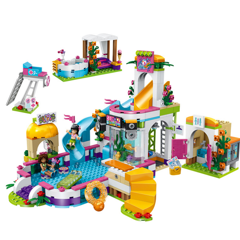 LEPIN Friends 41313 01013 589pcs building blocks The Heartlake Summer Pool Bricks figure toys for children waz compatible legoe friends 41313 lepin 01013 589pcs building blocks the heartlake summer pool bricks figure toys for children