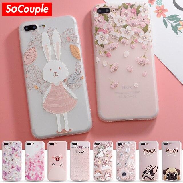 Socouple красочный цветок кролик чехол для iPhone 7 чехол милый мультфильм животных задняя крышка Телефонные Чехлы для iPhone 6 6 S 6/7 /8 плюс 8 X