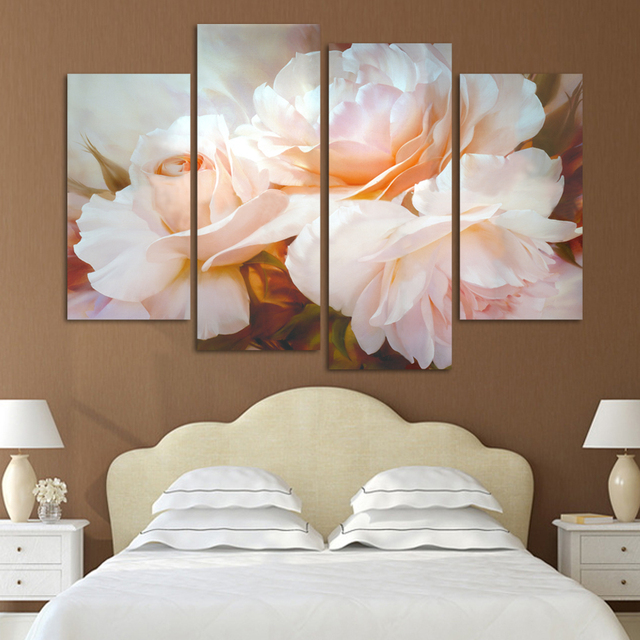 New Modular Pictures Fashion 4 Pcs/Set Combined Rose Flower Paintings Modern Wall Painting Canvas Wall Art Picture Unframed H096