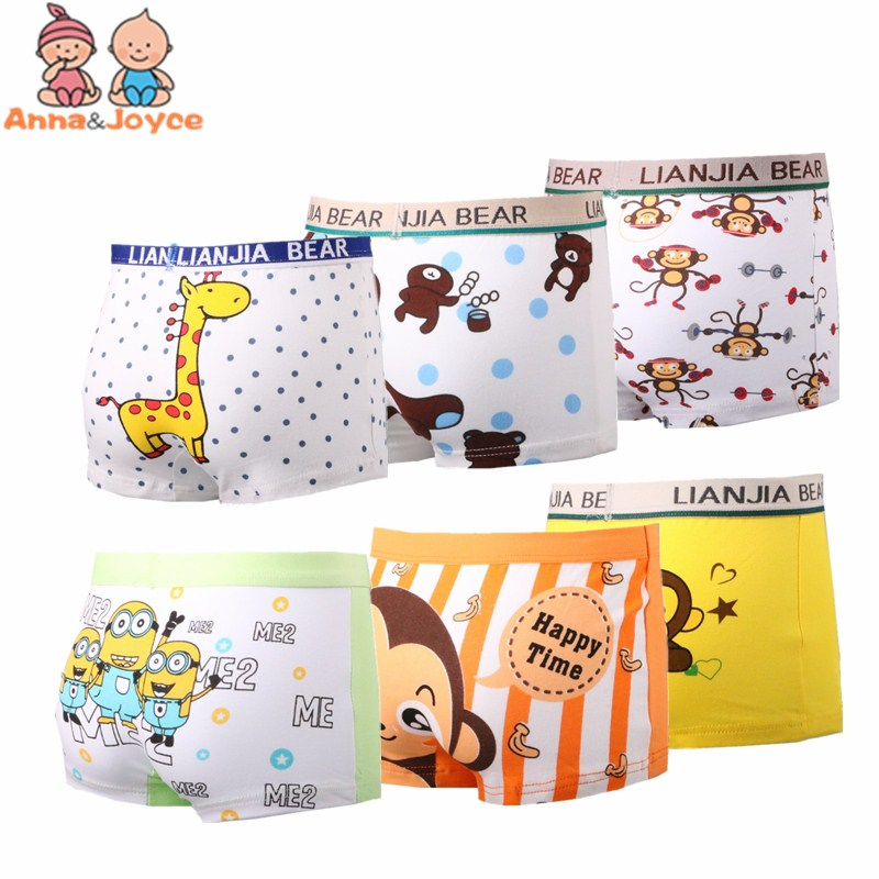 4Pcs/lot Boy Boxer Shorts Children Underwear for Boys Cotton Boxer Underwear Kids   Panties   Giraffe