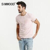 SIMWOOD 2017 Summer New T Shirt Men Cotton Striped Slim Fit Brand Clothing Pocket Pink Breton