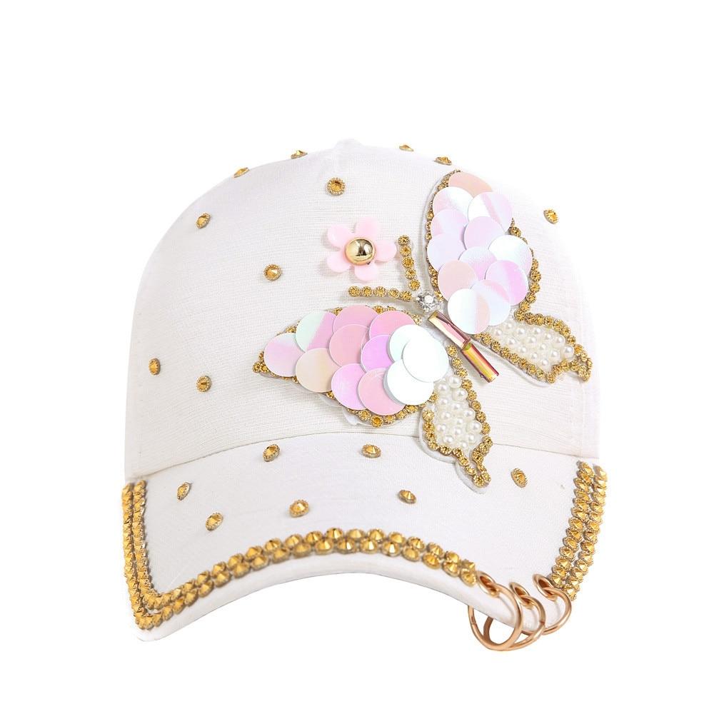 Kopfbedeckungen Für Damen Neue Mode Frauen Neue Mode Baseball Kappe Hüte Strass Perlen Schmetterling Und Blume Muster Weibliche Baseball-kappe Snapback Sport Sonnenhut Eleganter Auftritt Baseball-kappen