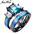 JUNXIN Unique Blue Fire Opal Ring Sets For Female Male Black Gold Filled Wedding Party Engagement Promise Ring Love Jewelry