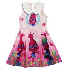 Girls Trolls Costume Dresses Kids Girl Princess Sleeveless P