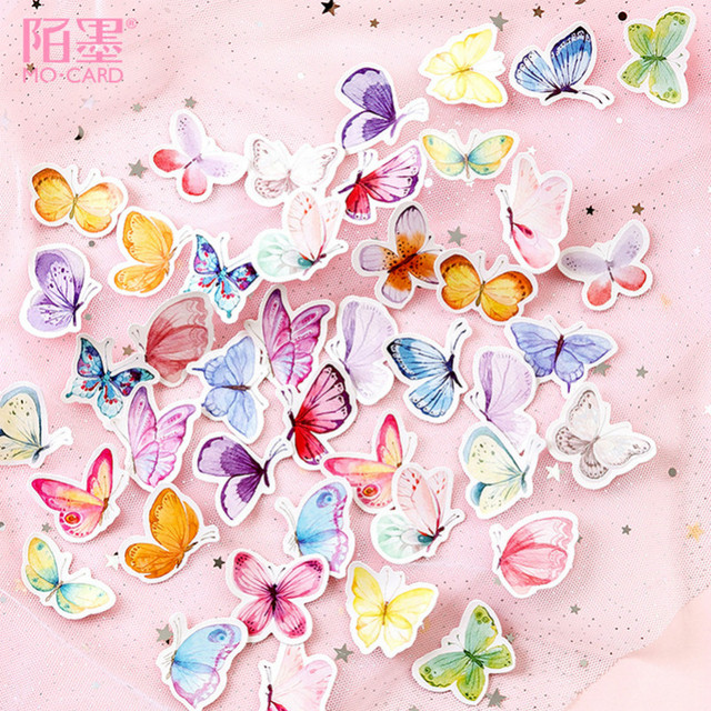 40 PCS Pretty Butterfly Sticker Animal Cute Decals Stickers Gifts for Children to Laptop Suitcase Guitar Fridge Bicycle Car