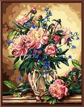 Europa Emoldurado Pintura Da Parede Pintura Retrato Por Números Óleo DIY Pintura em tela Home Decor Para Sala de estar De Flor 40*50 cm G142