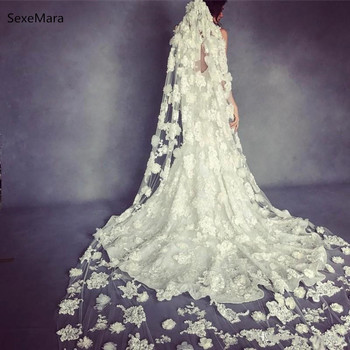 New Lace Bridal Veils Cathedral Length Long 3D Floral Appliqued Ivory/White Wedding Veils With Free Comb