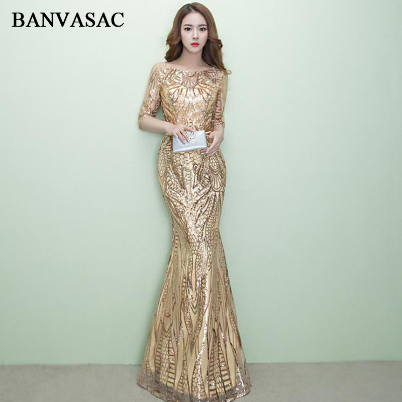 BANVASAC O Neck Sequined Leaf Sash Mermaid Long Evening Dresses 2018 Vintage Lace Half Sleeve Party Prom Gowns