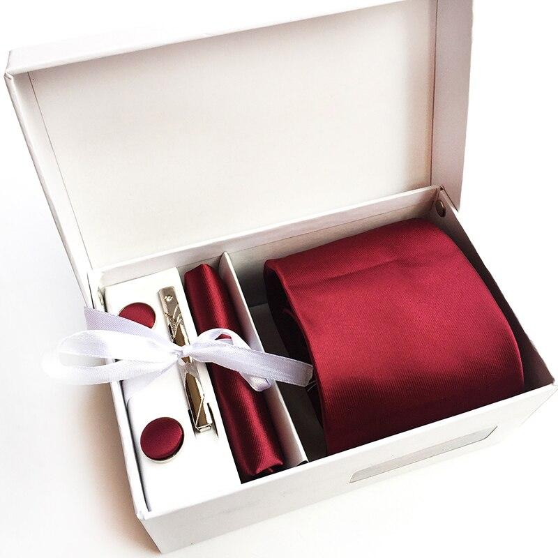 Gift For Men's Red Wedding Party Silk Tie Sets Solid Color 8CM Neckties Square Handkerchief Cufflink Cravatas Wide Male Neck Tie