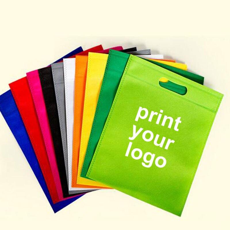 300pcs 50 60 shipping cost custom shopping bag logo print logo bag shopping Flat bags clothes