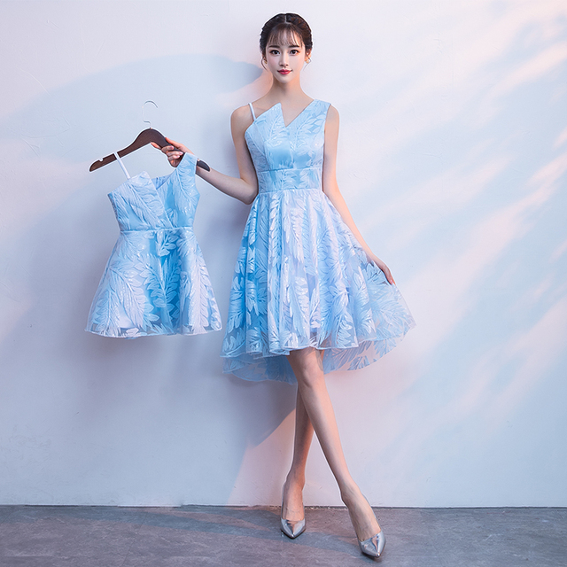 Mother Daughter Wedding Dress Lace Clothes Blue One Off Shouldered Skinny Mom And Birthday Party Short Princess