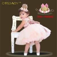 Одежда принцессы для девочек, платье с бантом без рукавов для 1 года, праздничный костюм для малышей на день рождения, летнее платье для меро...