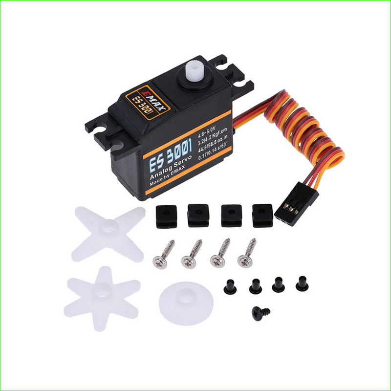 4pcs/lot Emax ES3001 RC Parts ABS Analog Servo For Helicopter Airplane Part (ES08A ES08MA ES08MD) emax es3005 waterproof metal analog servo w gears and parts black 4 8 6 0v