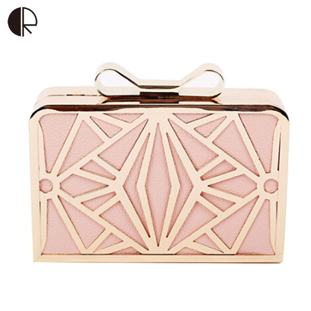 2016 New Fashion Women Handbags Metal Patchwork Shinning Shoulder Bag Ladies Pink Day Clutch Wedding Party Evening Bags Mini Bag