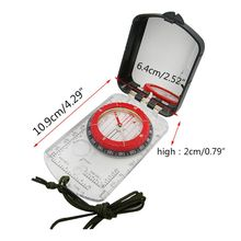 Sturdy Acrylic Ruler Magnifier Mirror Compass Lanyard Waterproof Pocket Size Outdoor Camping Hiking Portable Adventure Survival
