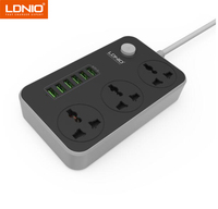 LDNIO SC3604 Smart 6USB Charger Adapter Charger 5V 3.4A Grounding Extension Power Socket EU/UK PLUG 17W