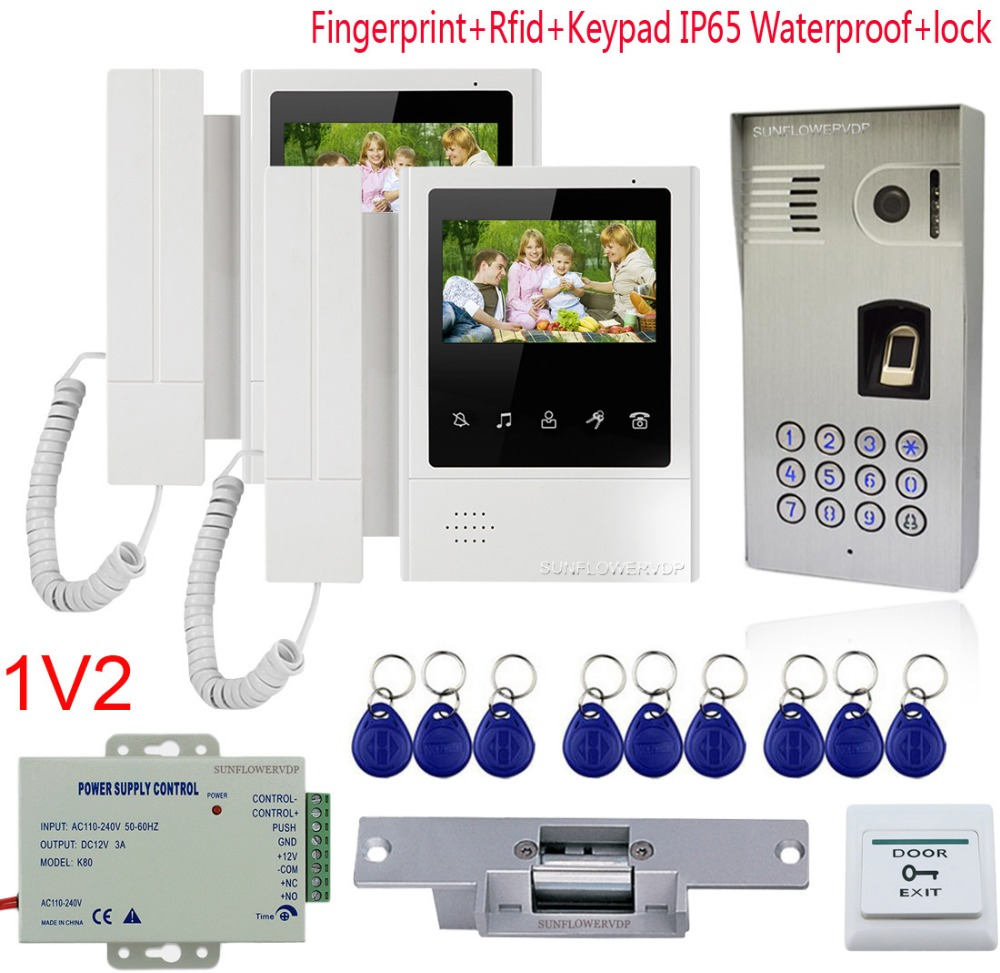 Fingerprint Video Intercom For A Private House IP65 Waterproof Rfid Card Videophone 4.3