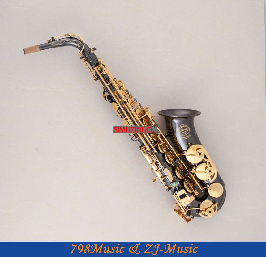 Professional Alto Sax font b Saxophone b font Black Nickel Body and Gold Keys Abalone Shell