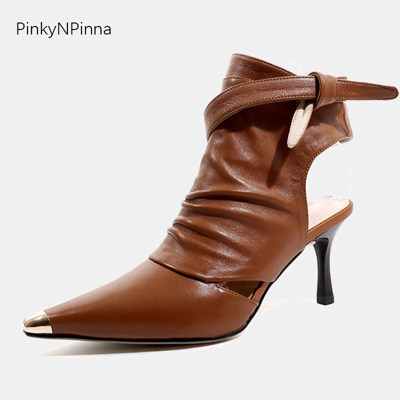 2019 women fashion summer ankle boots sandals full genuine leather soft top quality sheepskin metallic pointed