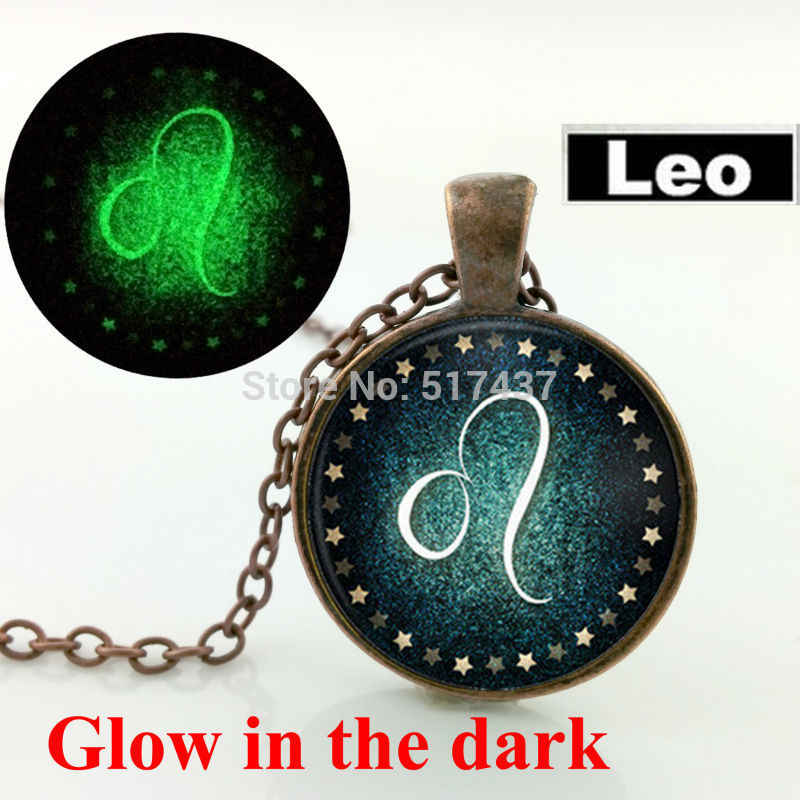 Glow in the dark jewelry Leo Necklace Zodiac Sign Pendant Constellation Jewelry glass art photo  glowing necklace pendant
