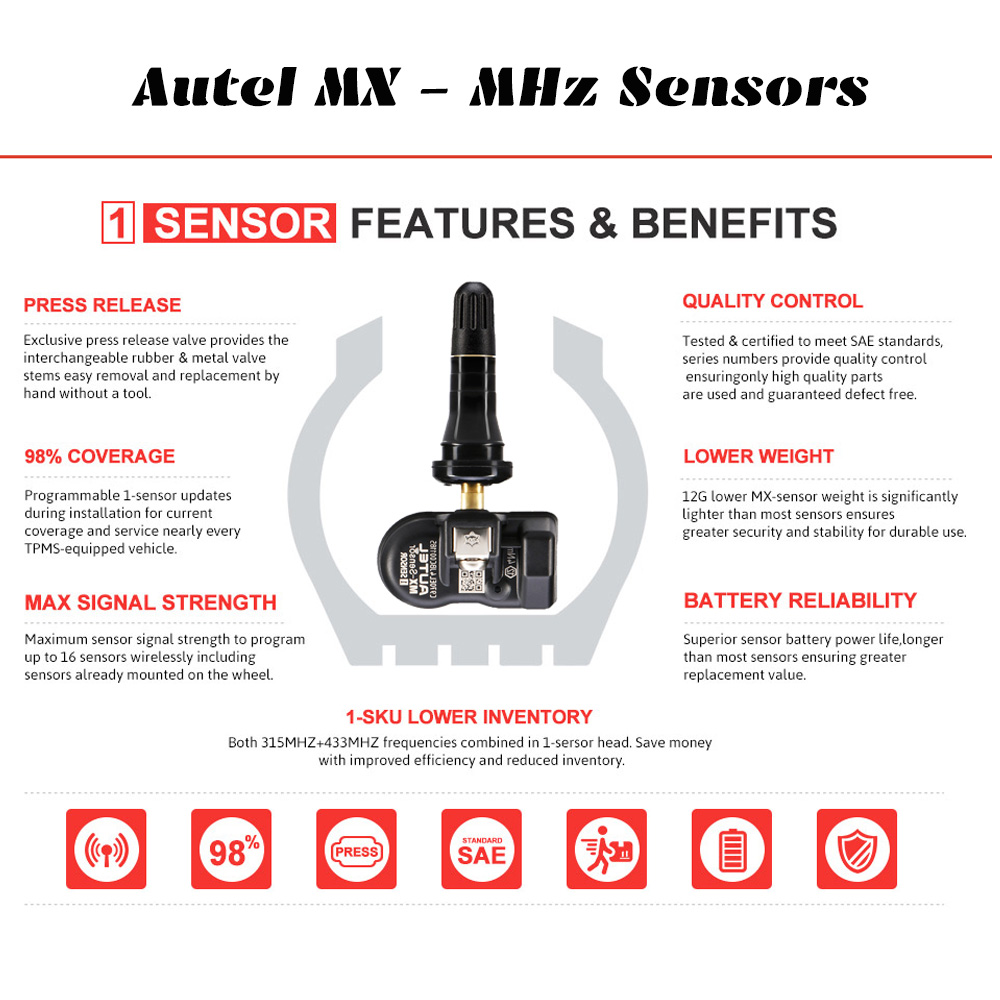Image 5 - Autel MX Sensor 433 315MHZ TPMS Sensor Tire Repair Tools Scanner MaxiTPMS Pad Tire Pressure Monitor Tester Programming MX Sensor
