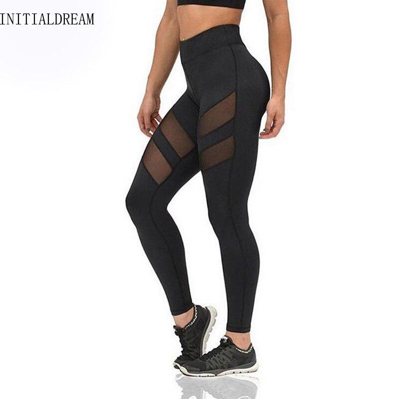 INITIALDREAM new Sporting   leggings   Women Yuga Pants fitness Mesh Yuga Elastic Ladies sporting leggins Workout Pants