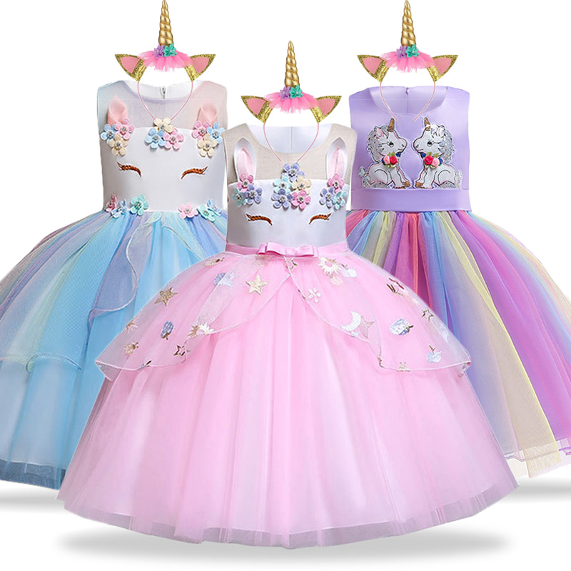 Unicorn Dress Kids Dresses For Girls Elsa Costume Cinderella Dress Children Birthday Party Girls Princess Dress Infantil Vestido(China)