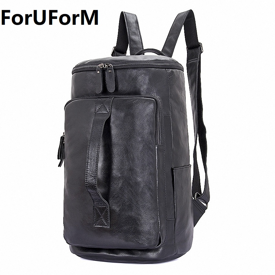 Genuine Leather Men Laptop Backpack Bag Travel Casual Business Male Luxury Waterproof Daypack Bucket Backpack For College I-2088 xiaomi 90fun brand leisure daypack business waterproof backpack 14 laptop commute college school travel trip grey