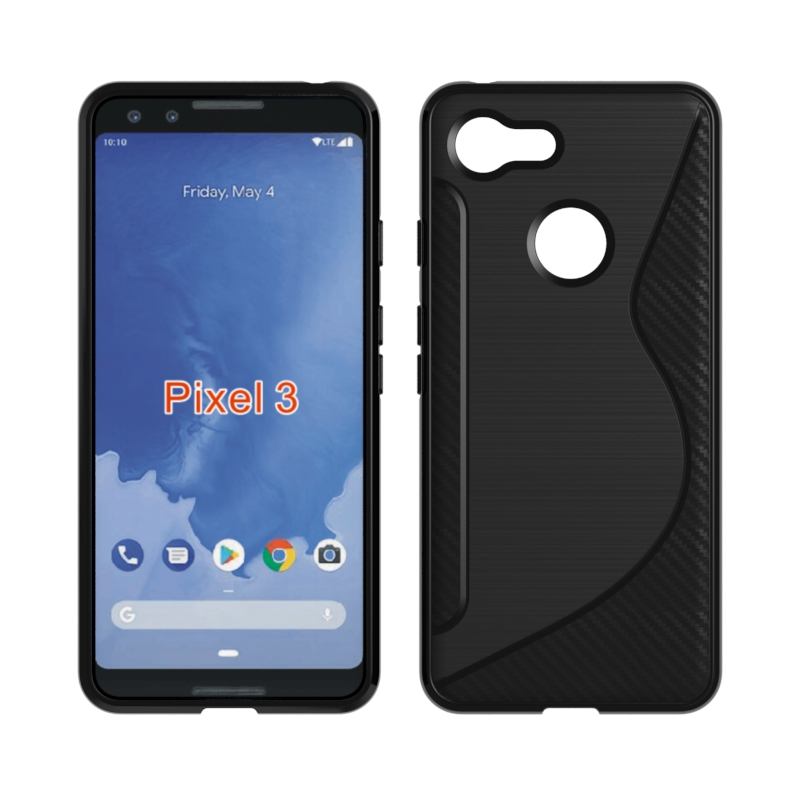 10PCS/LOT.Black Shockproof Anti-Skid S Line TPU Gel Skin Case Cover For GOOGLE PIXEL 3