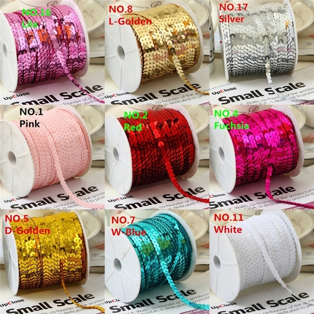 1 Roll/Lot (100 Yards/Roll) 6mm Loose Diameter Round Flat Sequins Paillettes Sewing On Trims For Crafts, Cloth Accessory