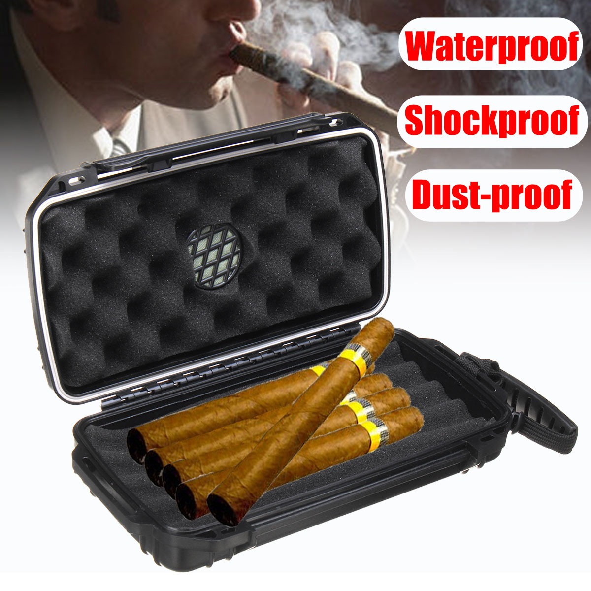 Cigar Accessories Black Cigars Storage 5 Cigar in Box with Sponge Lined Waterproof Dustproof for Outdoor Smoking Accessory