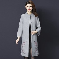2019 New Autumn Women Wool Coat Winter Stand Collar Exquisite Embroidered Designs Female Work Wear Gray Fashion Clothes