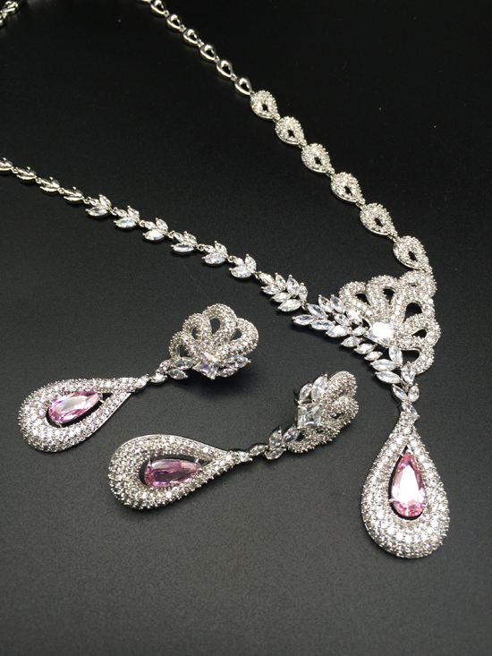 2018 NEW fashion luxury noble retro v style pink water drop zircon necklace earring set,wedding bride dress dinner jewelry set